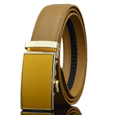 Amedeo Exclusive Men Tan Leather Belt - Gold & Tan Buckle