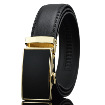 Amedeo Exclusive Men Black Belt - Black & Gold Buckle Leather