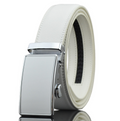 Men's Genuine Leather Smart Ratchet Automatic Belt Perfect Fit No holes! White - Amedeo Exclusive