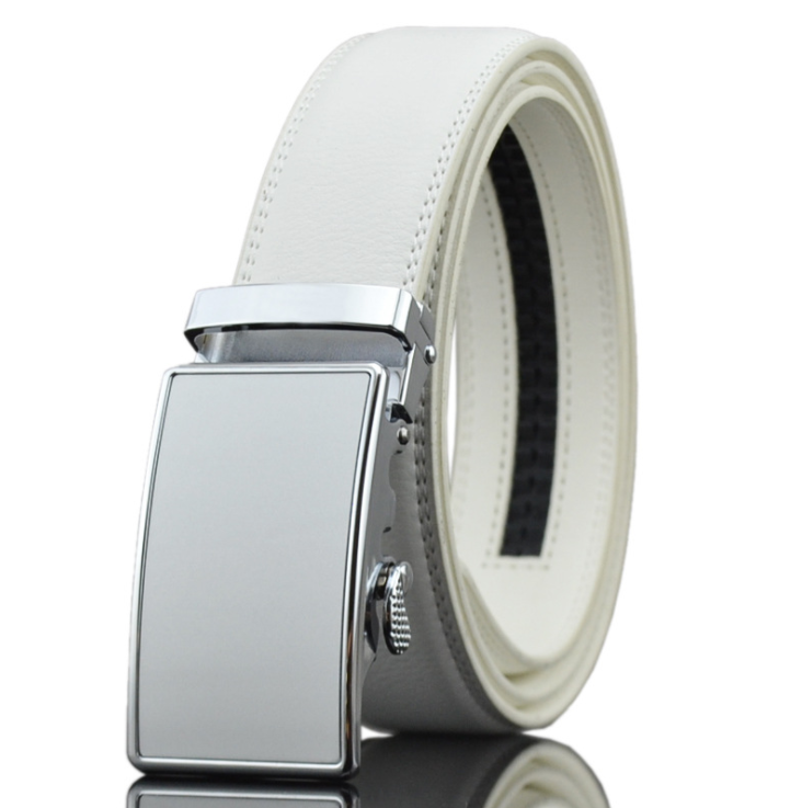 Amedeo Exclusive Men's White Belt Silver Buckle Leather - Amedeo Exclusive