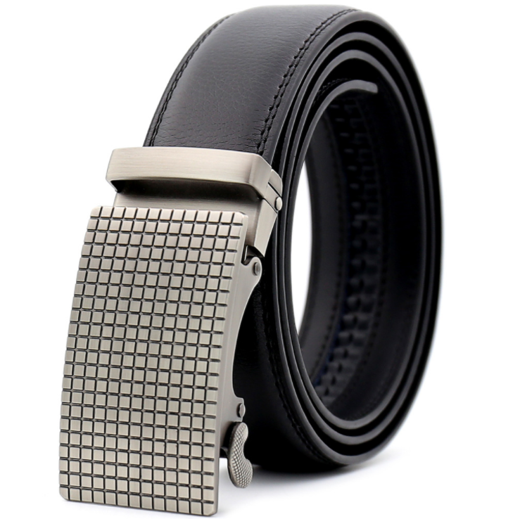Amedeo Exclusive Men's Black Belt Silver Checkered Buckle Leather - Amedeo Exclusive