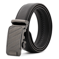 Men's Black Belt - Silver Textured Buckle Leather