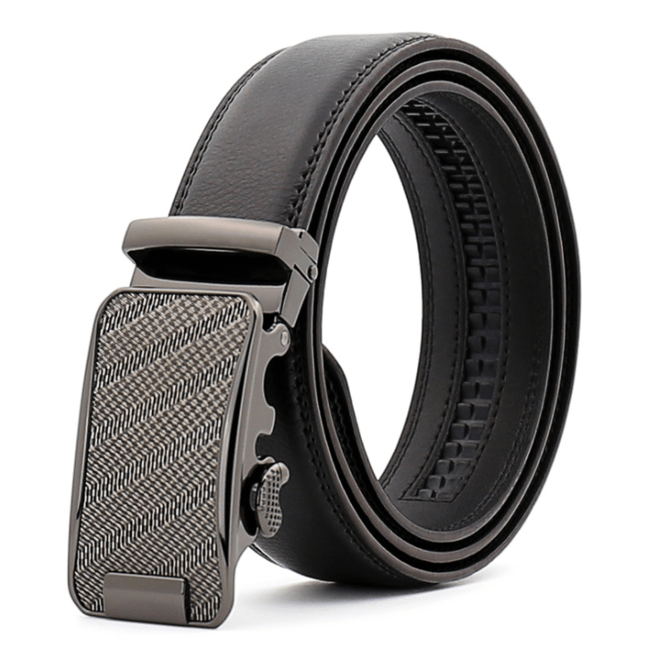 Amedeo Exclusive Men's Black Belt Silver Textured Buckle Leather - Amedeo Exclusive