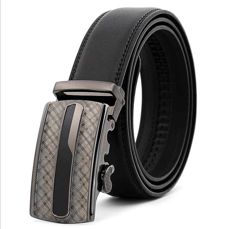 Amedeo Exclusive Men's Black Belt Checkered Buckle Leather - Amedeo Exclusive