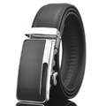 Amedeo Exclusive Men Black Belt - Black & Silver Buckle Leather