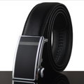 Men's Real Leather Black Belt - Black Plain Buckle with strap