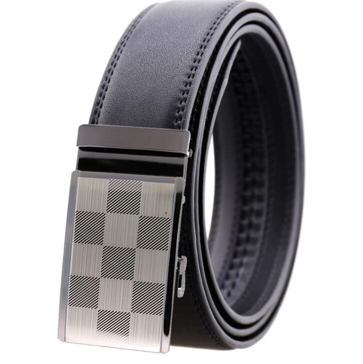 Men's Black Belt - Silver Checkered Buckle Standard Leather