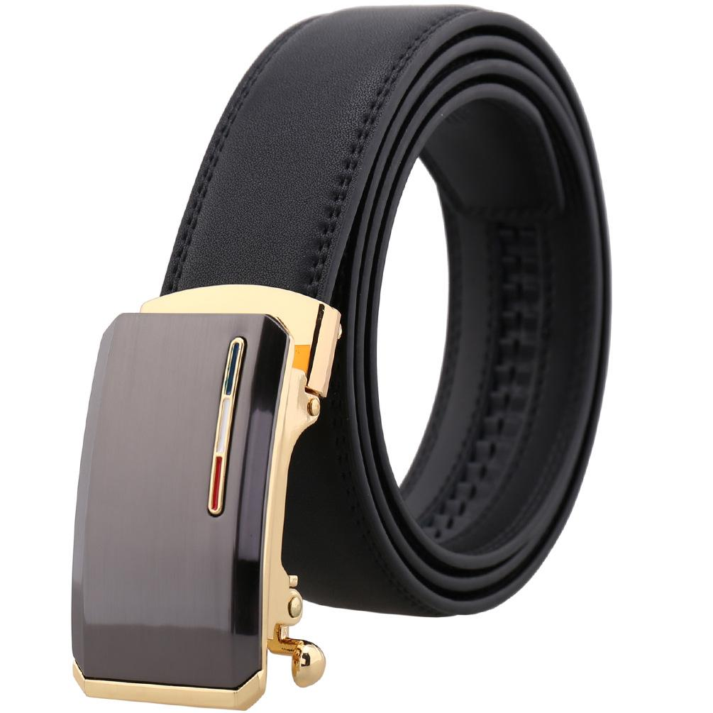 Amedeo Exclusive Men's Black Belt Brown Matte Buckle Leather - Amedeo Exclusive