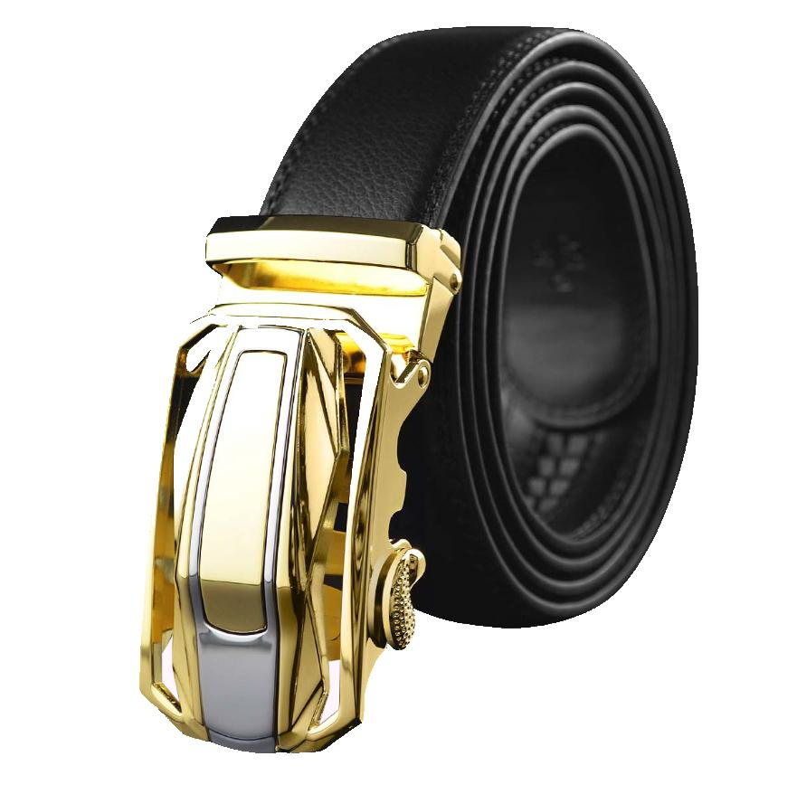 Amedeo Exclusive Men's Black Belt Gold Buckle Leather - Amedeo Exclusive