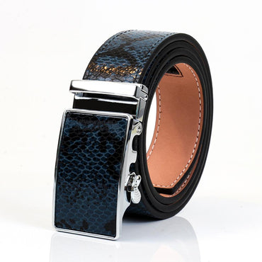Men's Genuine Leather Smart Ratchet Automatic Belt Perfect Fit No holes! Blue - Amedeo Exclusive