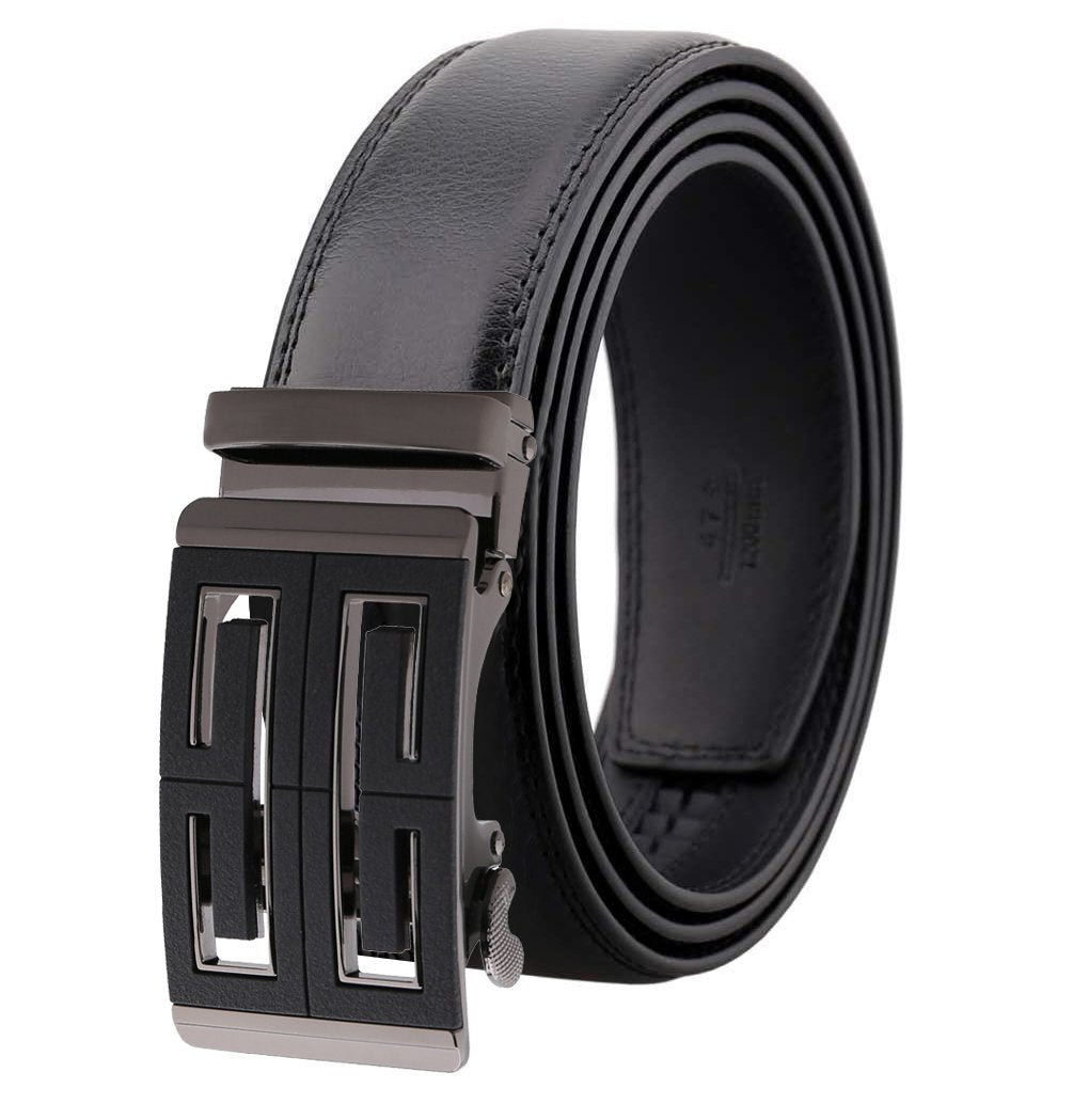Amedeo Exclusive Men's Black Slide Automatic Buckle Black Leather Belt - Amedeo Exclusive