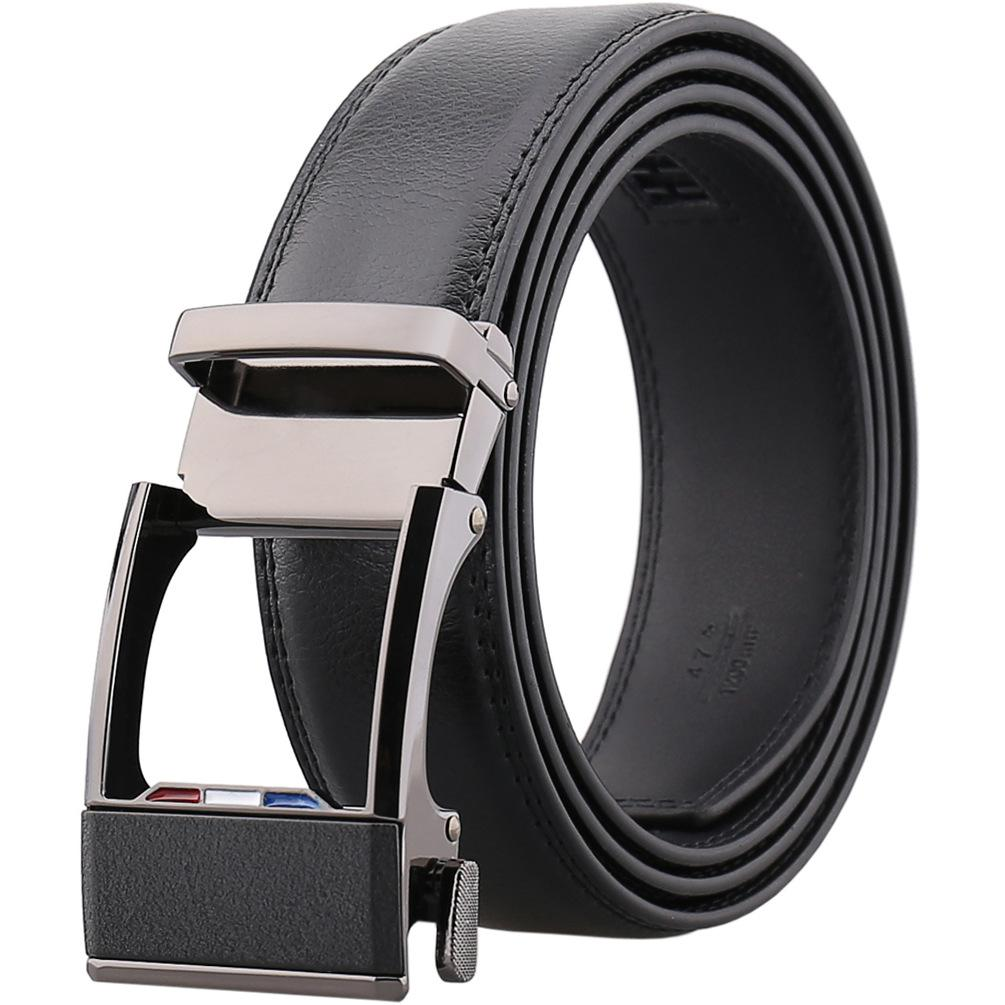 Men's Black Slide Buckle Black Leather Dress Comfort Belt