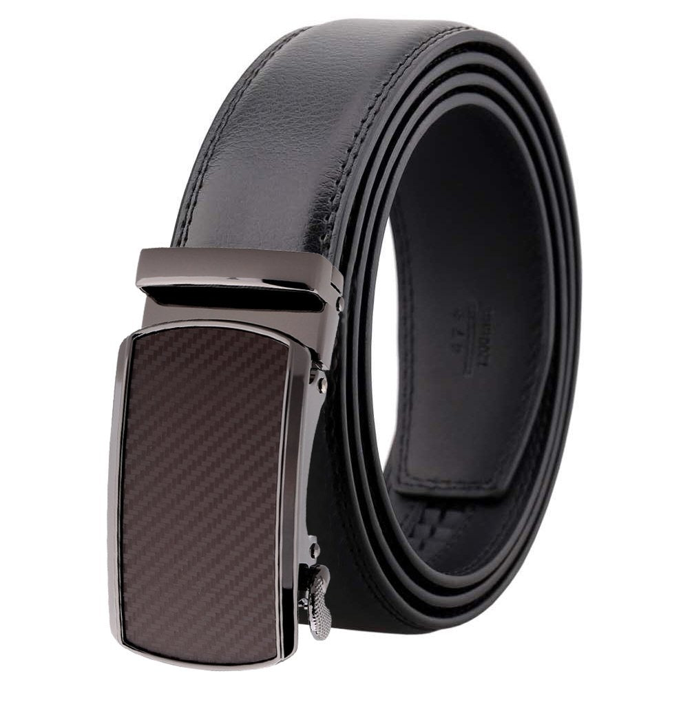 Amedeo Exclusive Men Black Auto Slide Buckle Black Leather Belt