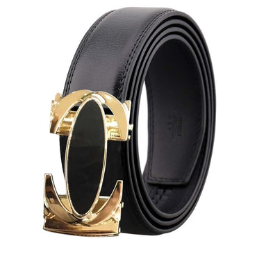 Amedeo Exclusive Men Black and Gold Buckle Black Leather Belt
