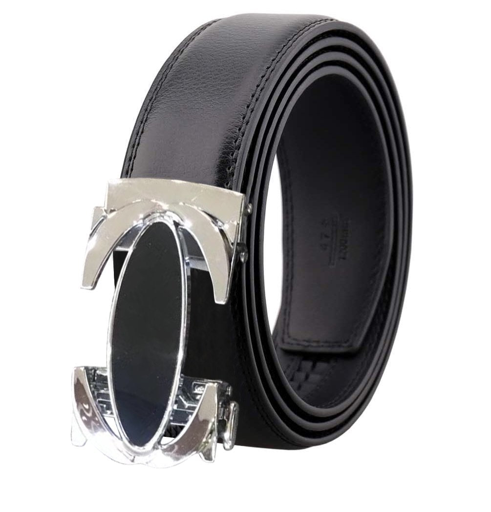 Men's Black and Silver Buckle Black Leather Belt