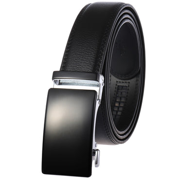 Men's Genuine Leather Automatic Smart Ratchet Belt No holes! Black