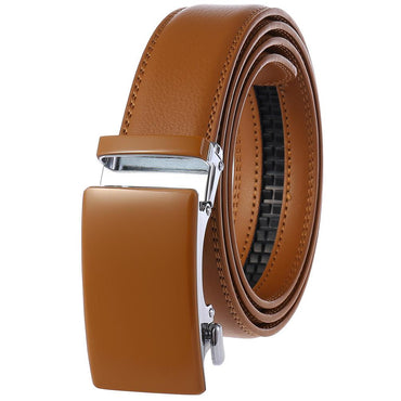 Men's Genuine Leather Automatic Smart Ratchet Belt No holes! Tan