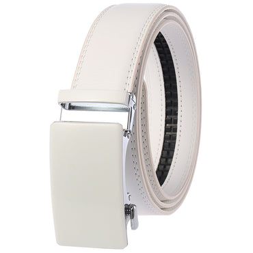 Men's Genuine Leather Smart Ratchet Automatic Belt Perfect Fit No holes! White