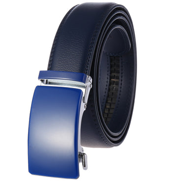 Men's Genuine Leather Smart Ratchet Automatic Belt Perfect Fit No holes! Blue
