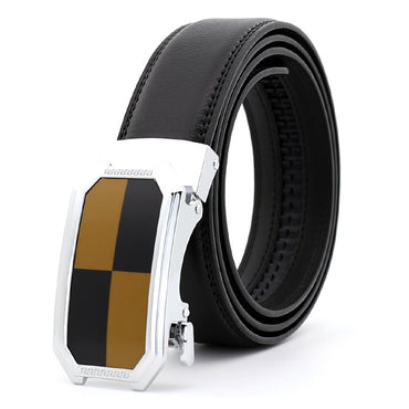 Men's Brown Belt - Brown + Black Buckle Standard Leather