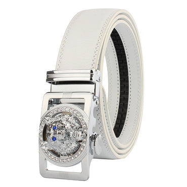 Men's White Belt - Silver Buckle Standard Leather