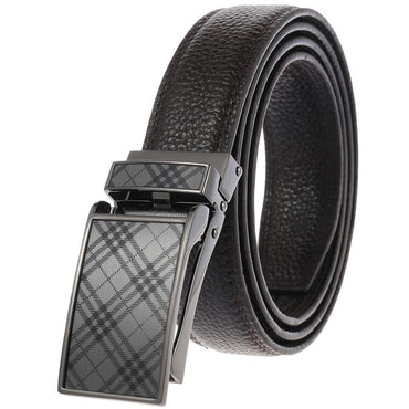 Men's Black Belt - Black Buckle Standard Leather