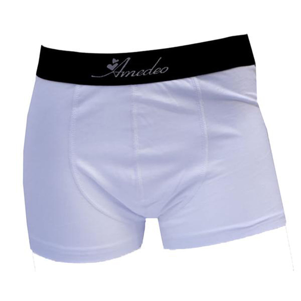 Men's Solid White Cotton New Boxer Briefs Underwear - Amedeo Exclusive