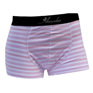 Pink & White Striped Mens Boxer Briefs - Cotton Underwear Trunk for Men - Amedeo Exclusive