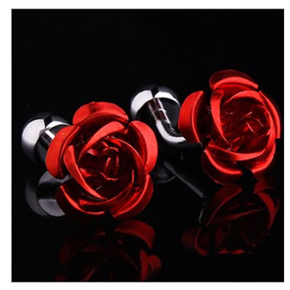 Men's Stainless Steel Red Rose Cufflinks with Box