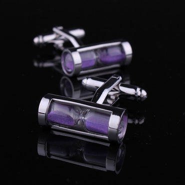 Men's Stainless Steel Purple Hour Glass Cufflinks with Box