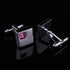 Men's Stainless Steel Silver Small Pink Square Cufflinks Box