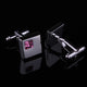 Mens Stainless Steel Silver Small Pink Square Cufflinks for Shirt with Box - Hand Crafted Perfect - Amedeo Exclusive