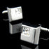 Men's Stainless Steel Silver Small White Square Cufflinks Box