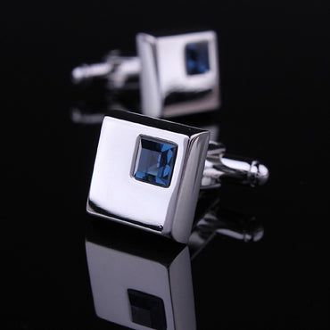 Men's Stainless Steel Silver Small Dark Blue Square Cufflinks with Box-Amedeo Exclusive