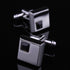 Silver Small Black Mens Stainless Steel Square Cufflinks for Shirt with Box - Hand Crafted Perfect