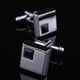 Men's Stainless Steel Silver Small Black Sqaure Cufflinks with Box