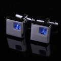 Men's Silver Small Light Blue Square Cufflinks with Box