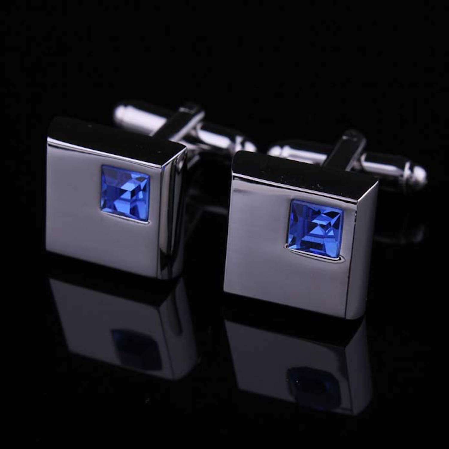 Men's Stainless Steel Silver Small Light Blue Square Cufflinks with Box - Amedeo Exclusive
