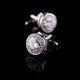 Men's Stainless Steel White Round Big Stone Cufflinks with Box - Amedeo Exclusive