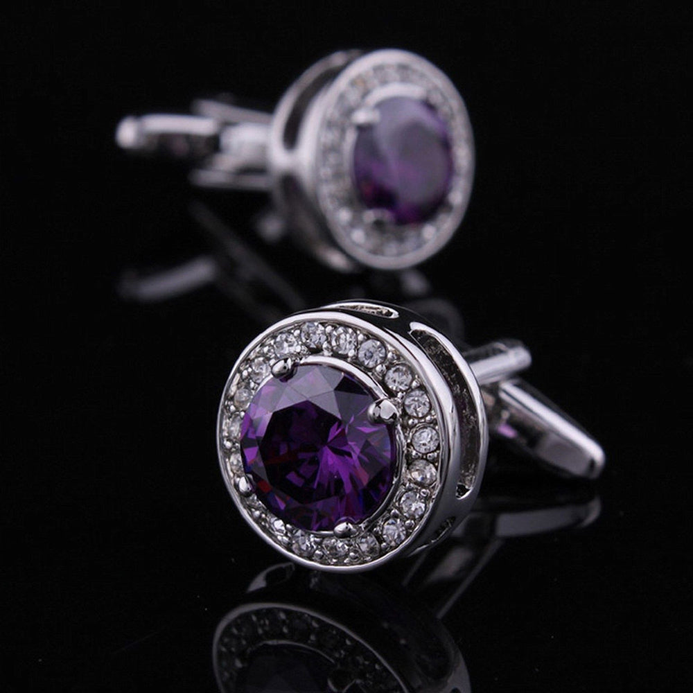 Mens Stainless Steel Purple Round Big Stone Cufflinks for Shirt with Box - Hand Crafted Perfect Gift - Amedeo Exclusive
