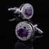 Stainless Steel Men's Purple Round Big Stone Cufflinks