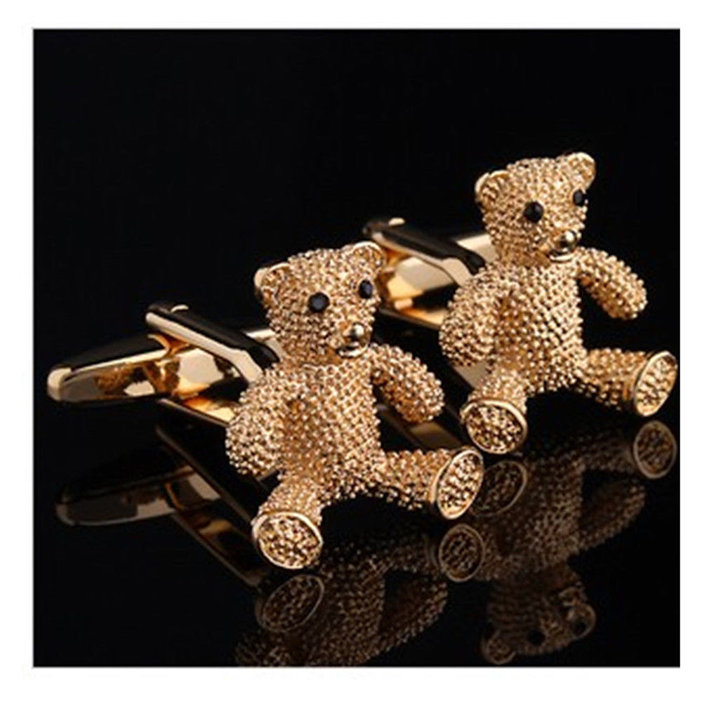 Mens Stainless Steel Gold Bears Cufflinks for Shirt with Box - Hand Crafted Perfect Gift - Amedeo Exclusive