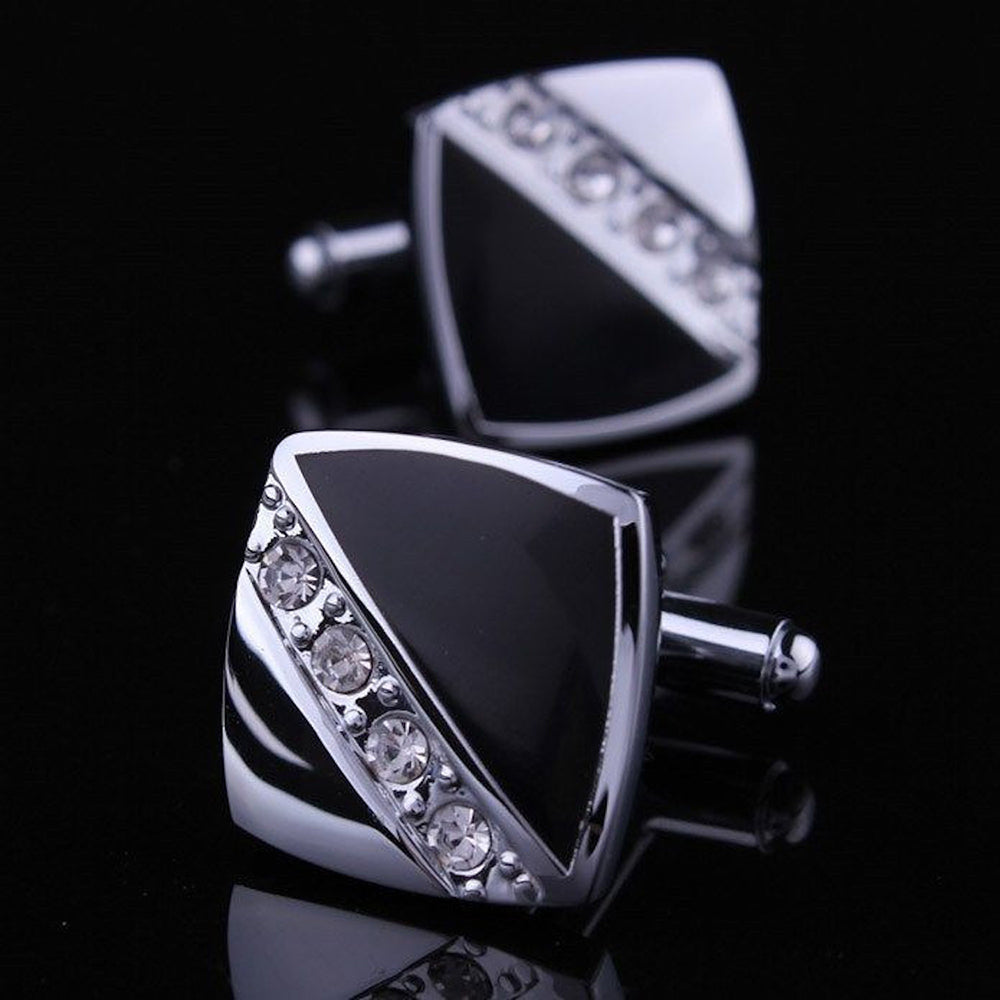 Mens Stainless Steel Square Cubic Zirconia Cufflinks for Shirt with Box - Hand Crafted Perfect Gift - Amedeo Exclusive