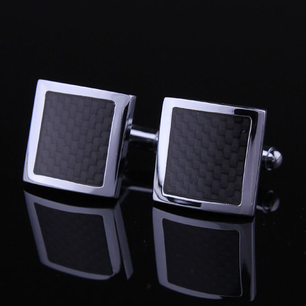 Men's Stainless Steel Carbon Fiber Square Cufflinks