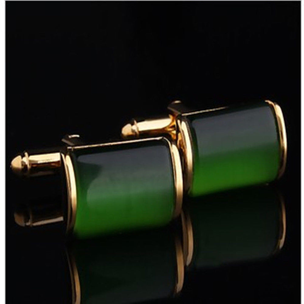 Men's Stainless Steel Gold & Green Squares Cufflinks with Box - Amedeo Exclusive