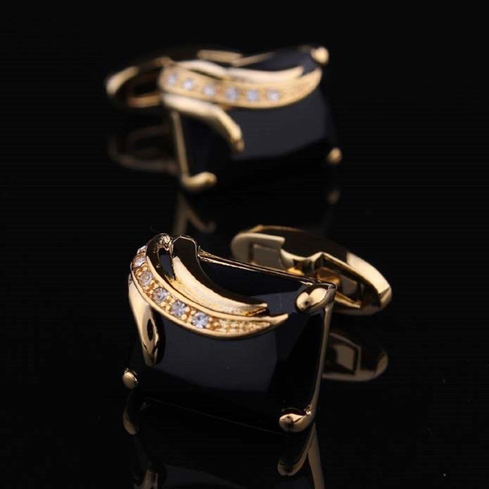 Men's Stainless Steel Exclusive Gold + Blk Squares Cufflinks with Box