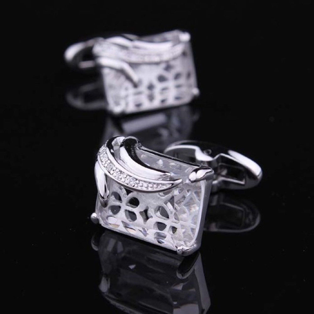 Mens Stainless Steel Silver + White Square Cufflinks for Shirt with Box - Hand Crafted Perfect Gift - Amedeo Exclusive