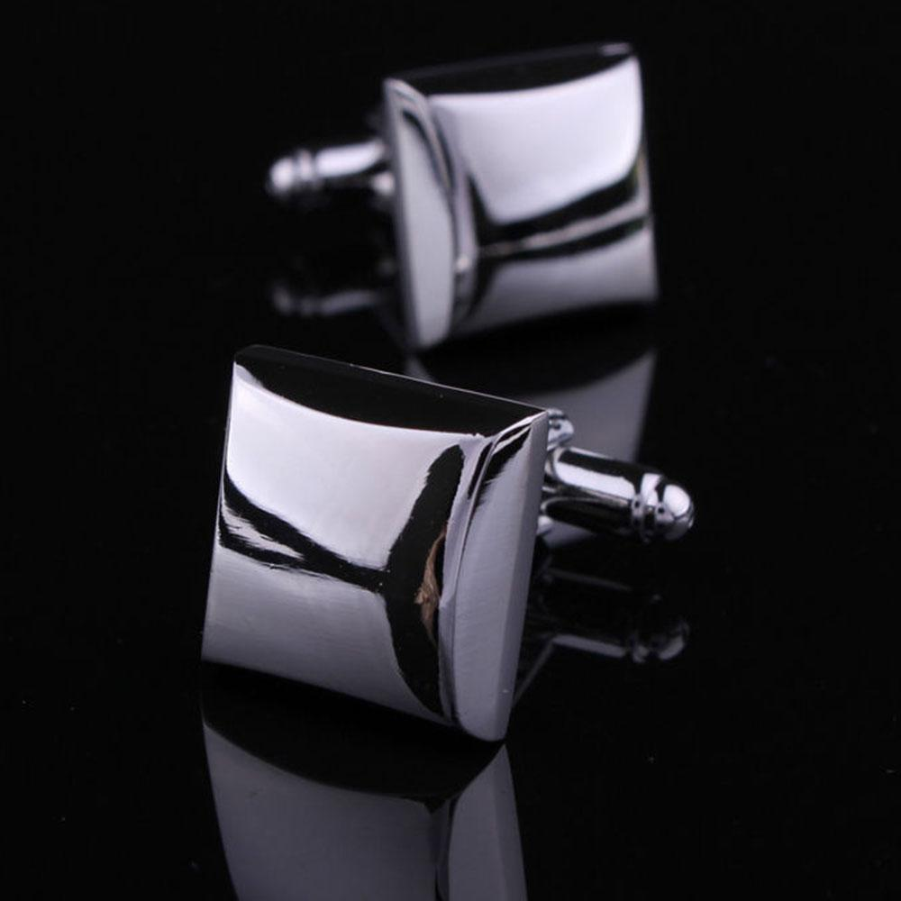 Men's Stainless Steel Pure Silver Squares Cufflinks with Box