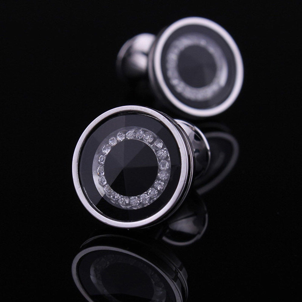 Men's Stainless Steel Round Silver Black with Zirconia's Cufflinks with Box - Amedeo Exclusive
