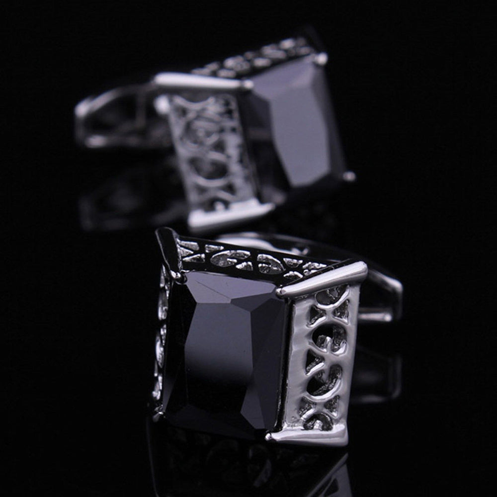 Men's Stainless Steel Silver Big Square Black Cufflinks with Box - Amedeo Exclusive